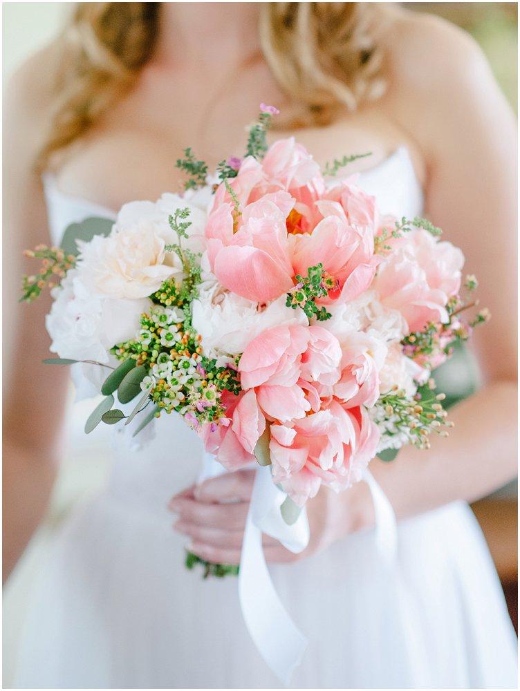 Brudebukett hvit, rosa og grønn