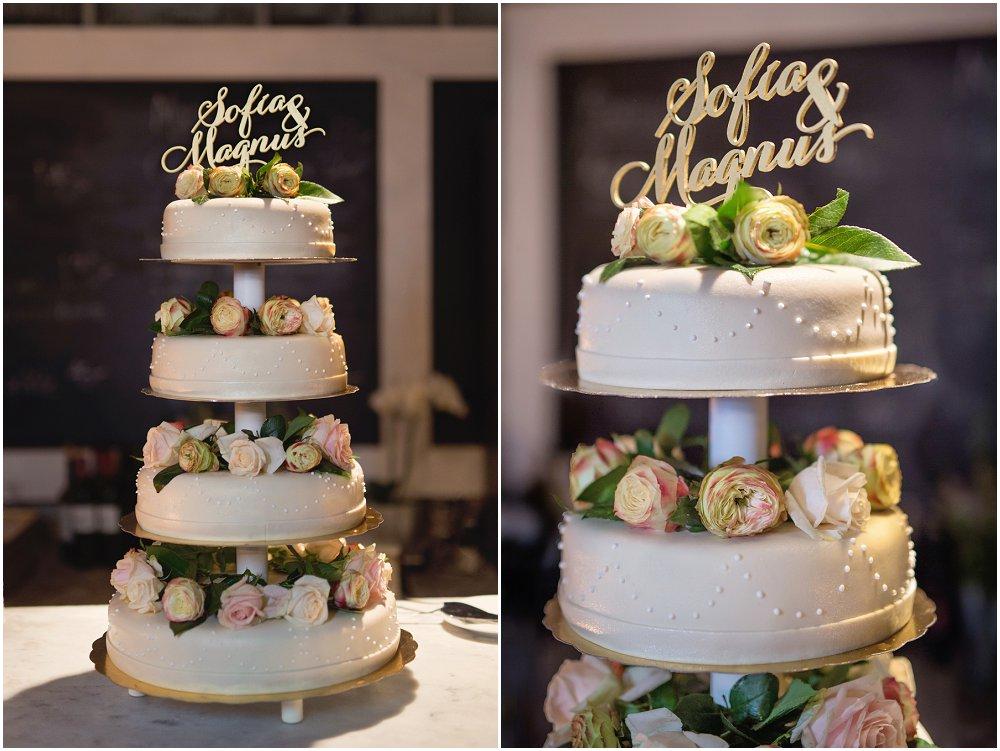 Bryllupskake med blomster